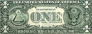 Illuminaten- und Freimaurersymbole auf dem Ein-Dollar-Schein